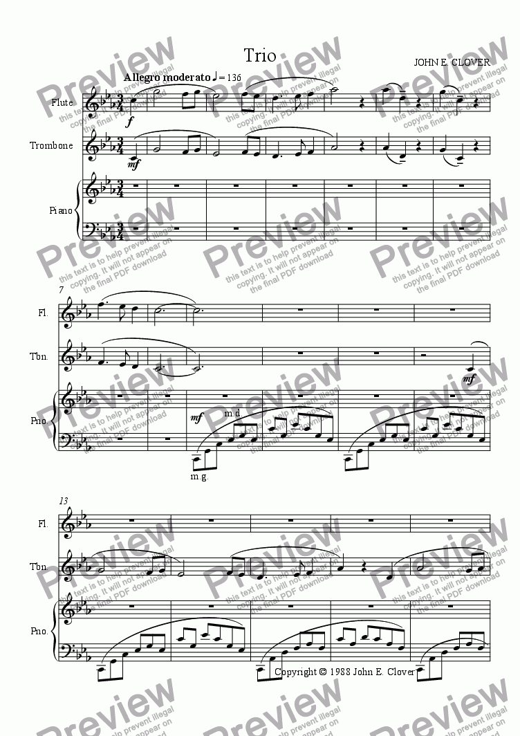 page one of Trio for Flute, Trombone and Piano I