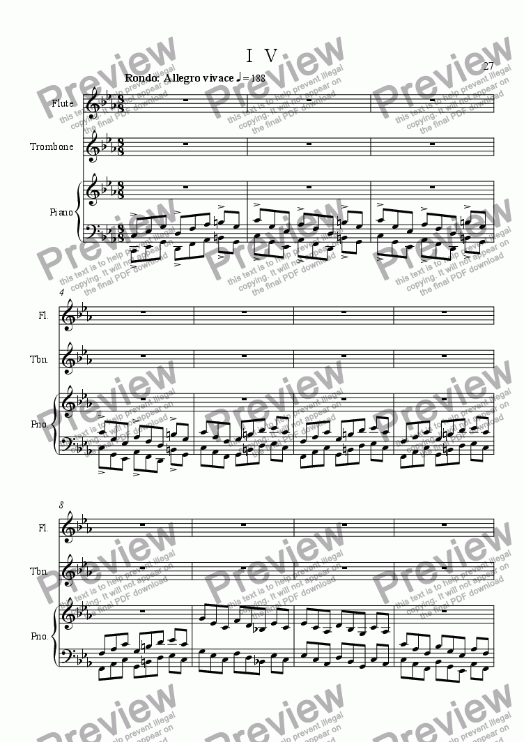 page one of Trio for Flute, Trombone and Piano  IV