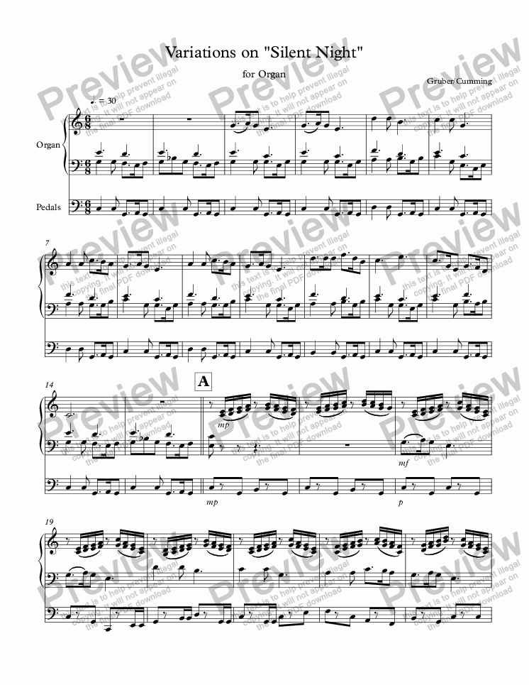 "page one of Variations on ""Silent Night"" for organ"