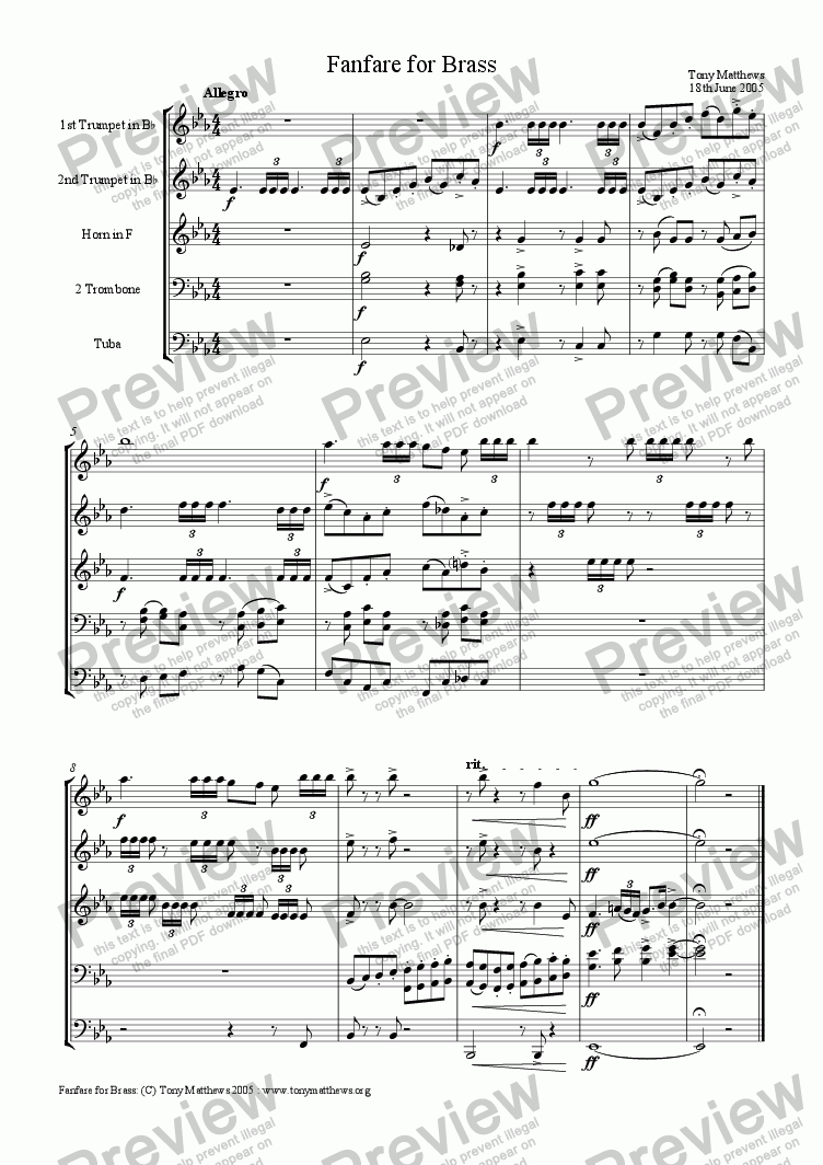 page one of Fanfare for Brass