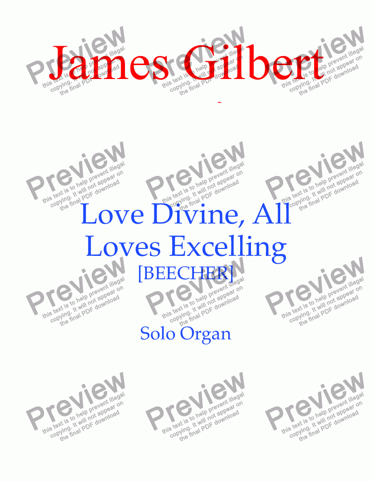 page one of Love Divine, All Loves Excelling