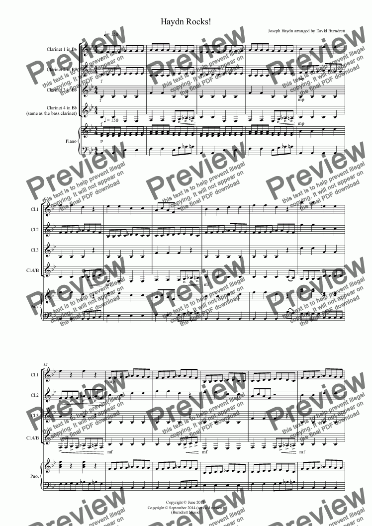 page one of Haydn Rocks! for Clarinet Quartet