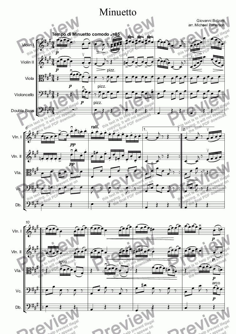 page one of Minuetto
