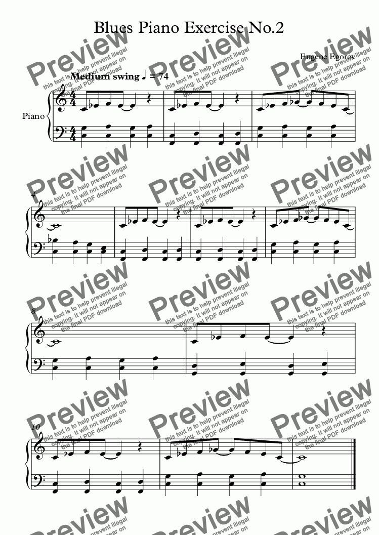 Blues Piano Exercise No 2 for Solo instrument (Piano) by Eugene Egorov -  Sheet Music PDF file to download