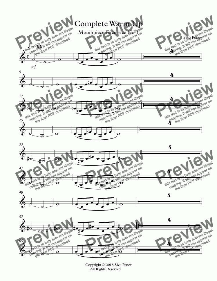 page one of Complete Warm Up: Mouthpiece Exercise No 3
