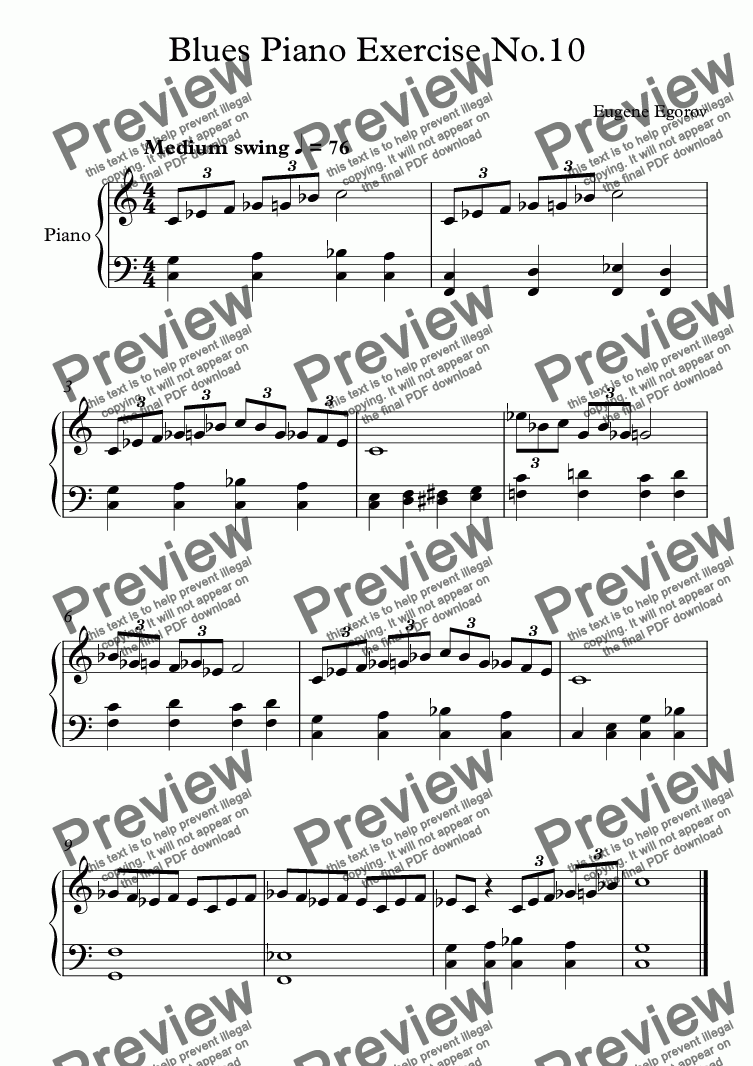 page one of Blues Piano Exercise No.10