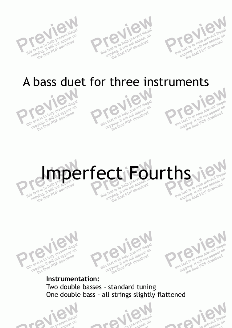 page one of Imperfect fourths - double bass duet (score only)
