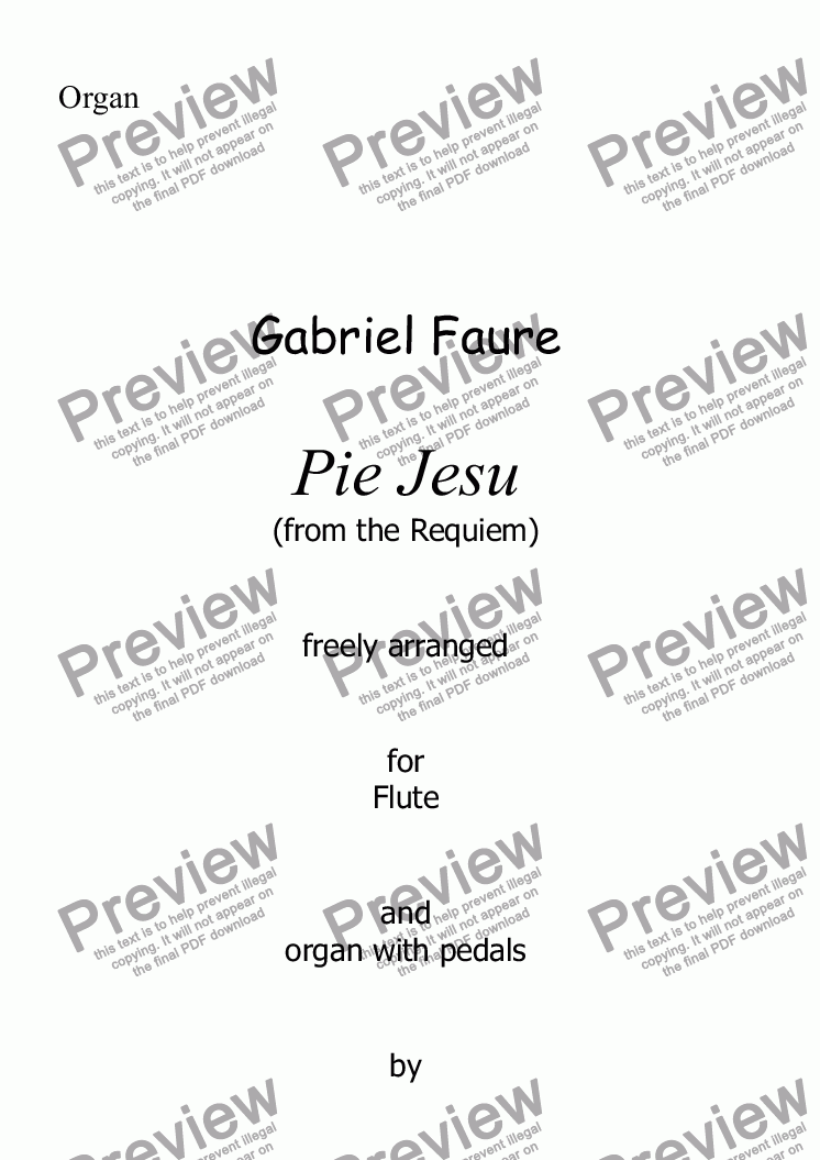 page one of Faure - Pie Jesu (Requiem) for Flute and organ with pedals