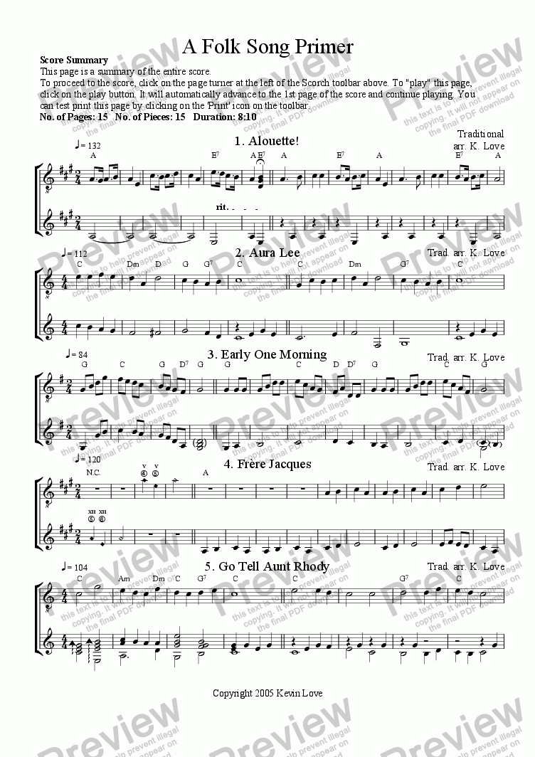page one of A Folk Song Primer (Duo)