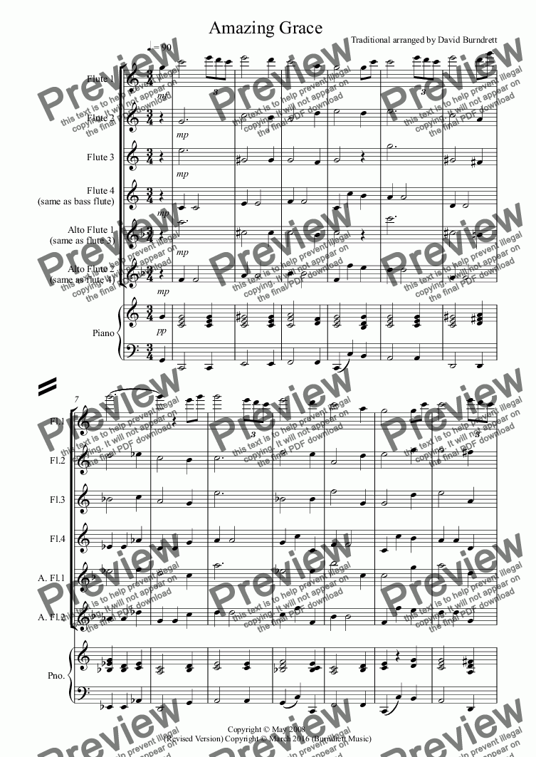 page one of Amazing Grace for Flute Quartet