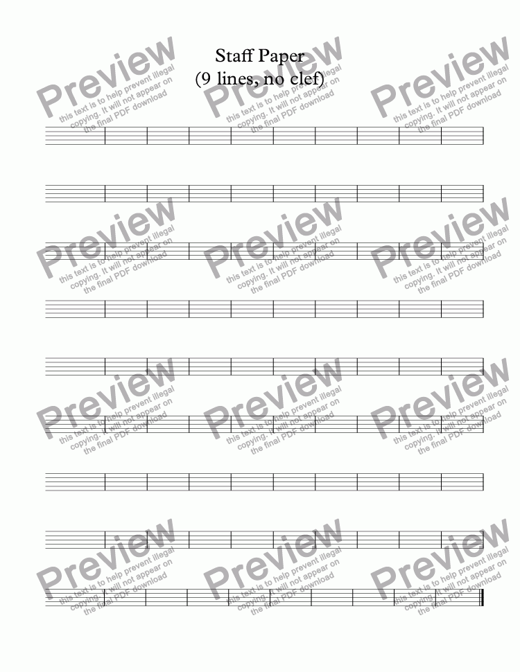 page one of Staff Paper (9 lines, no clef)