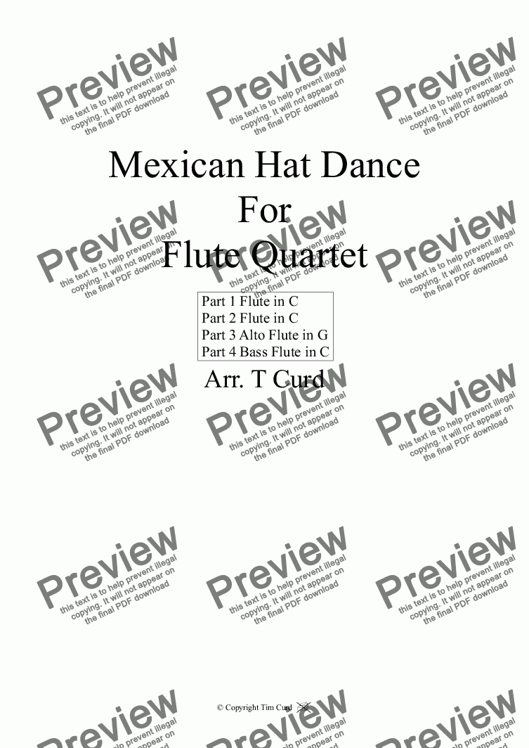 page one of Mexican Hat Dance. For Flute Quartet