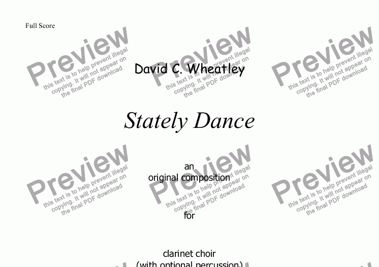 page one of Stately Dance by David Wheatley for clarinet choir