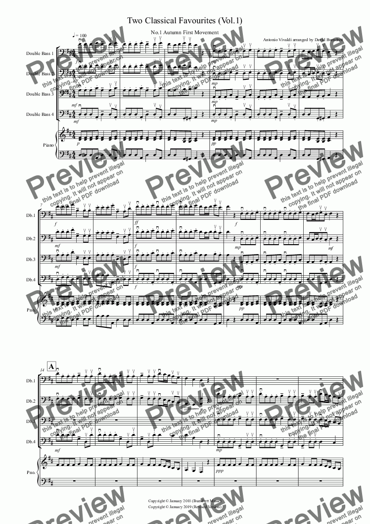 page one of 2 Classical Favourites for Double Bass Quartet (volume one)