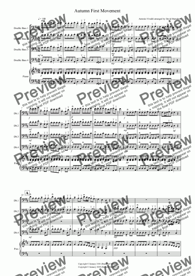 "page one of Autumn ""Four Seasons"" for Double Bass Quartet"
