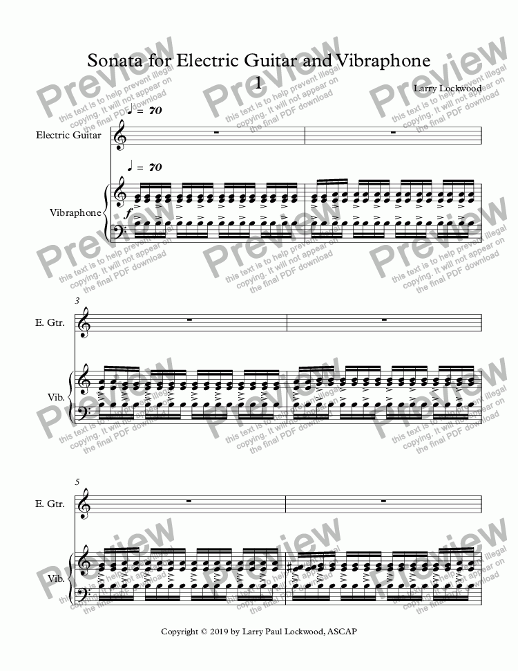 page one of Sonata for Electric Guitar and Vibraphone