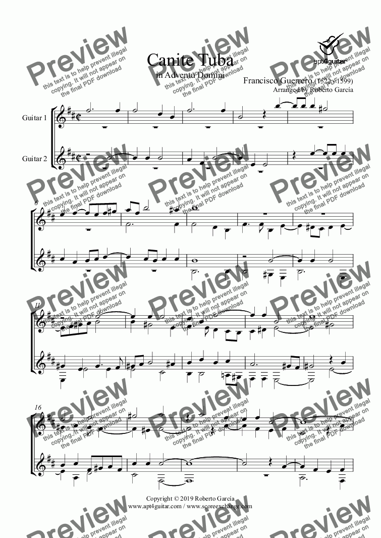 page one of Canite Tuba for guitar duet