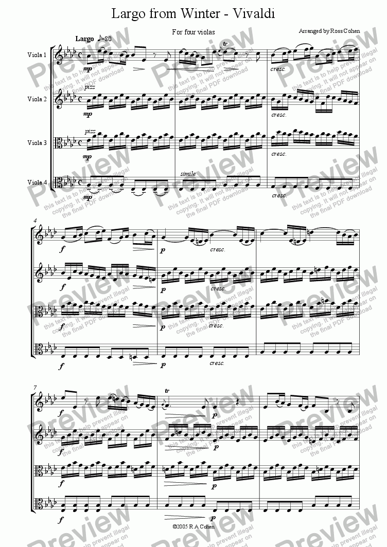 page one of Vivaldi - LARGO FROM WINTER - for viola quartet