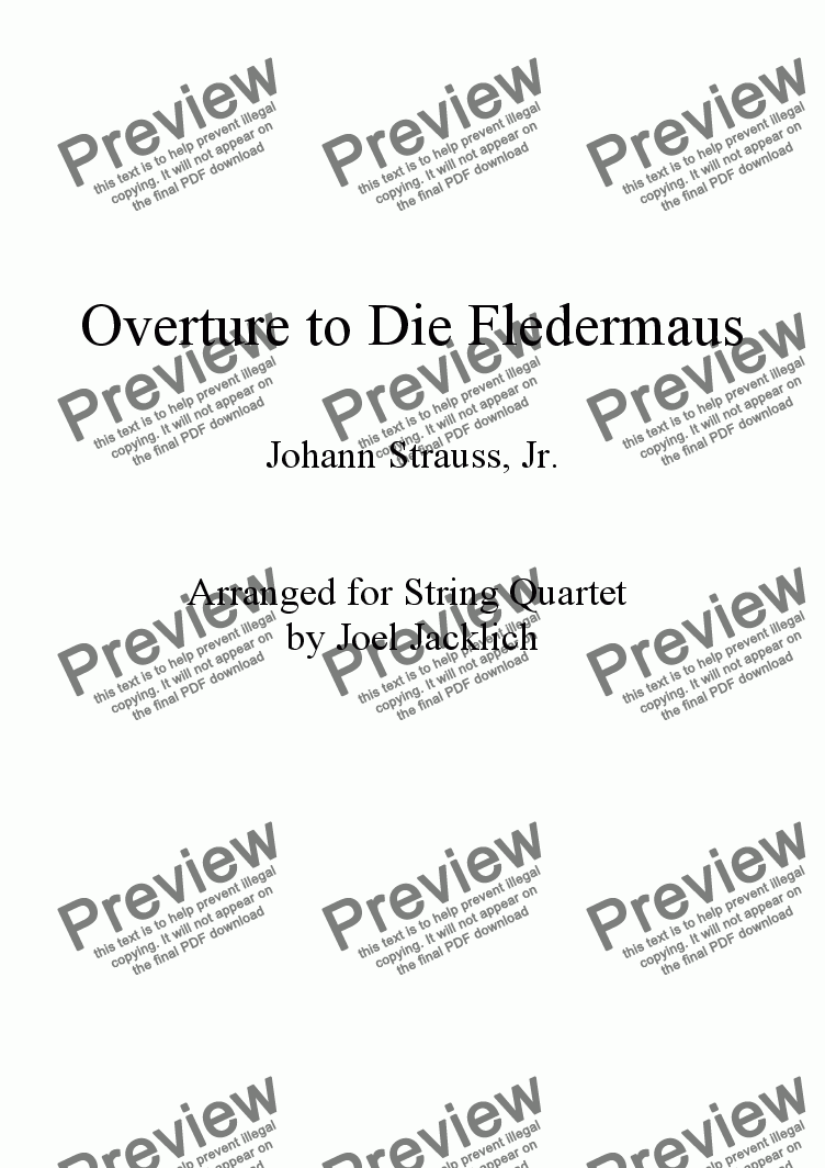 "page one of Overture to ""Die Fledermaus"""