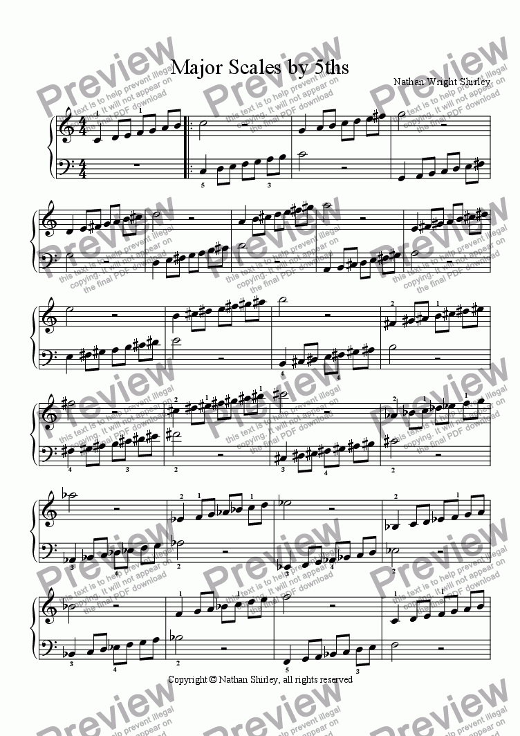 page one of Major Scales by Fifths
