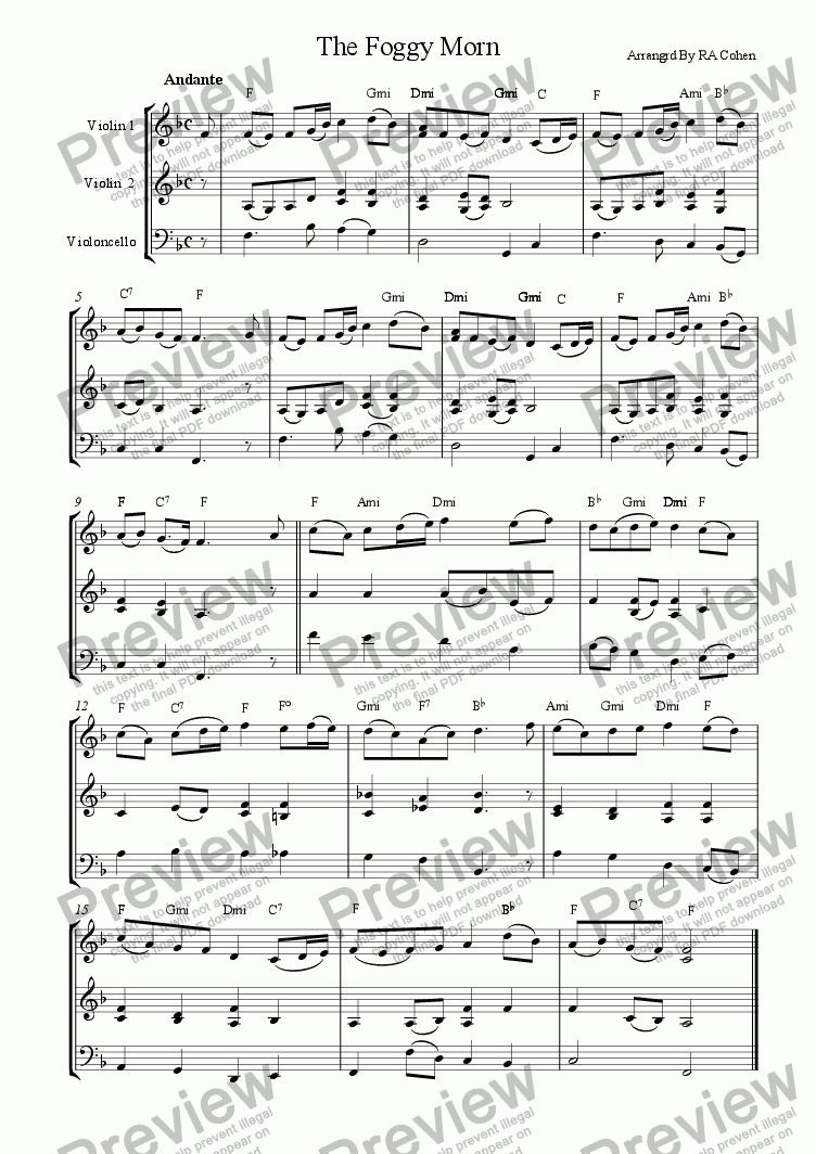 page one of trad. Irish - THE FOGGY MORN - for 2 violins and cello