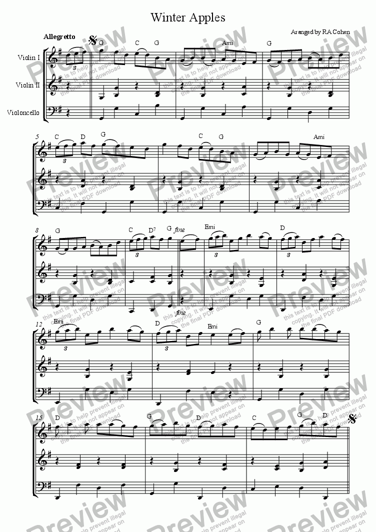 page one of trad. Irish - WINTER APPLES - for 2 violins and cello