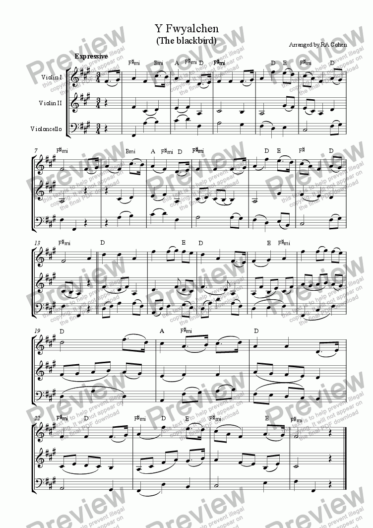 page one of trad. Welsh - Y FWYALCHEN (the blackbird) - for 2 violins and cello
