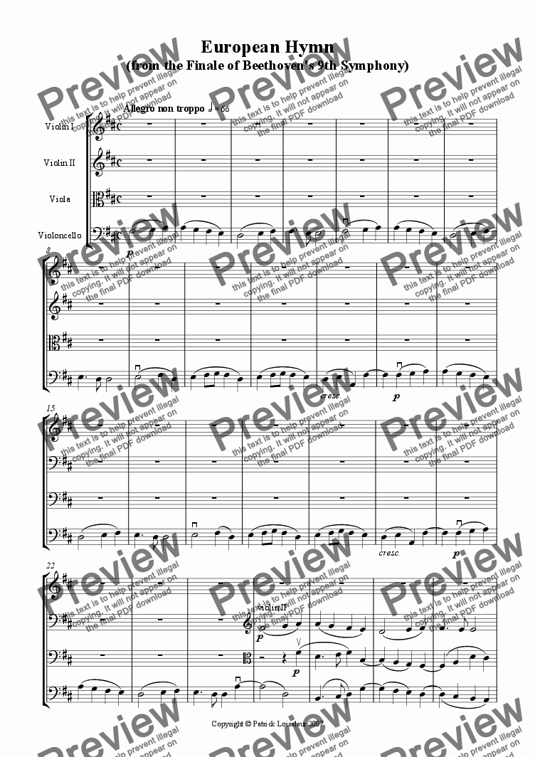 page one of Beethoven: European Hymn for String Quartet