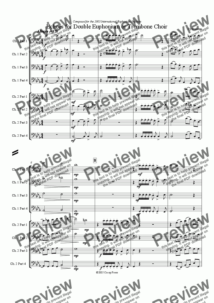 page one of Echoes for Double Euphonium or Trombone Choir