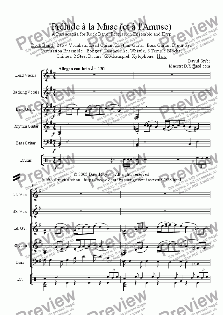 Prlude la Muse (et l'Amuse): A Passacaglia for Rock Band, Percussion  Ensemble and Harp for Percussion ensemble by David Stybr - Sheet Music PDF  file