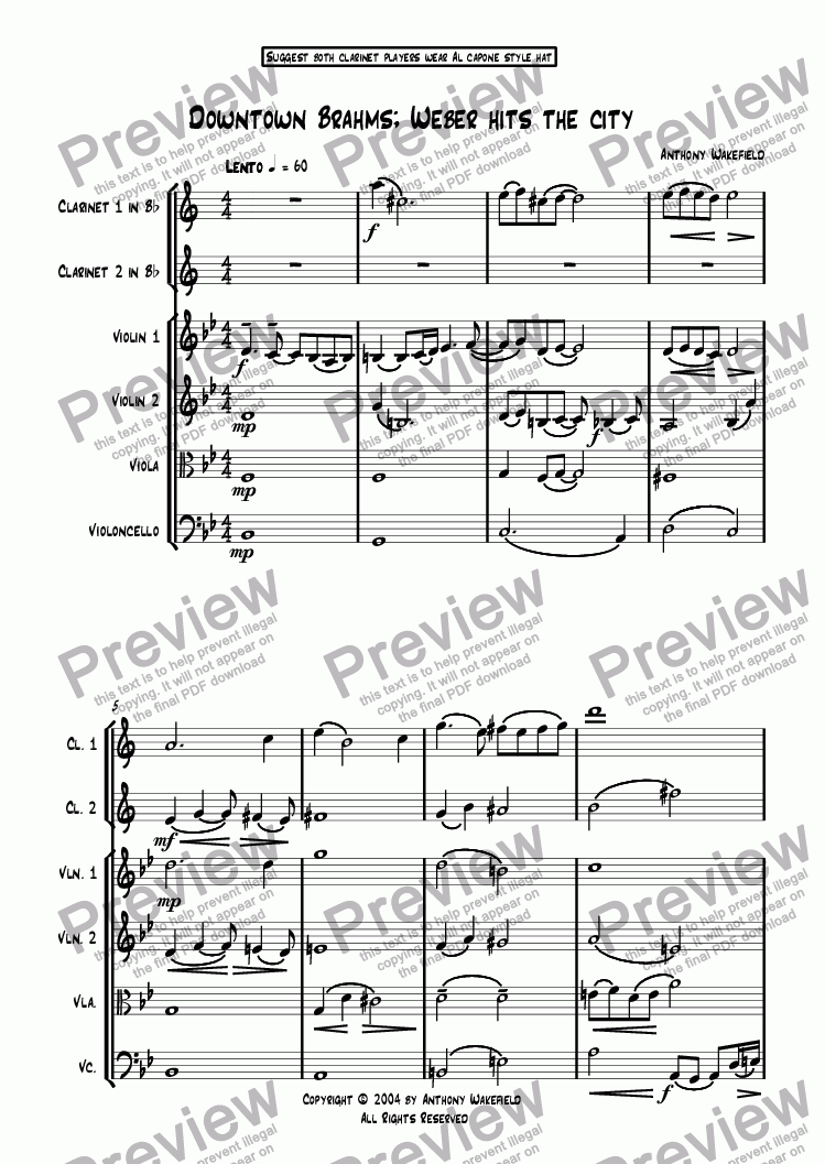 page one of Downtown Brahms - Weber Hits The City (2 Clarinets in Bb & String Quartet)