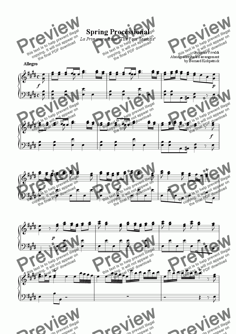 "page one of ""Spring"" Vivaldi Four Seasons-Download Sheet Music"