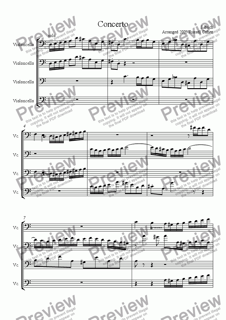 page one of Bach Violin Double in D Minor for Cello Quartet