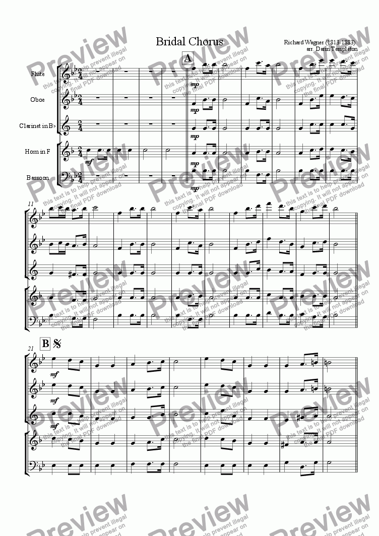 page one of Wagner- Bridal Chorus
