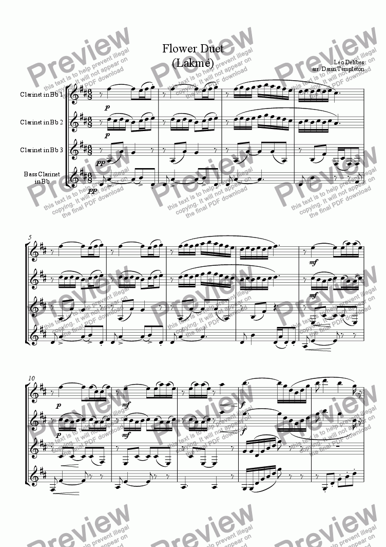 page one of Delibes- Flower Duet (from Lakme)