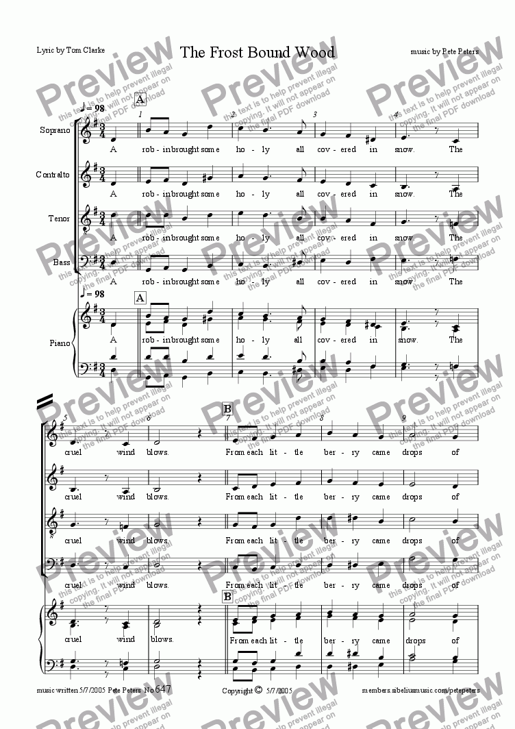 page one of The Frost Bound Wood [S.A.T.B.+ Piano]