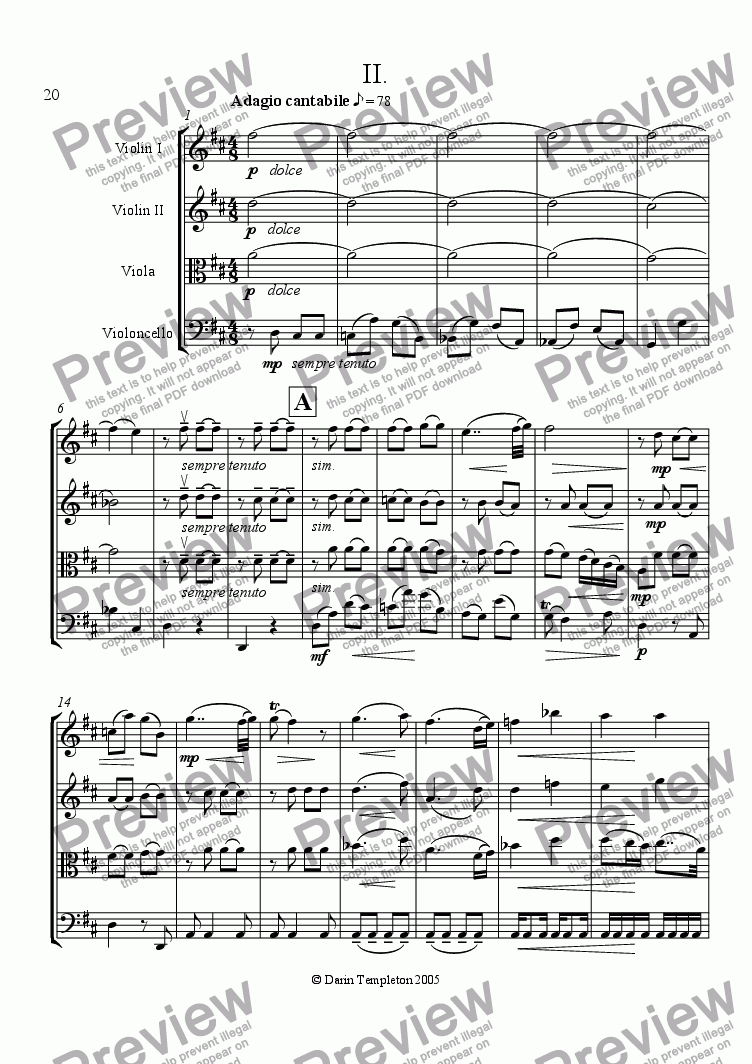 page one of String Quartet no. 1 in F Major Op. 4, Mvt. 2, Adagio cantabile