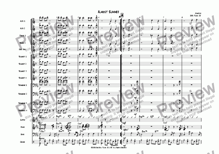 page one of Almost Summer (Big Band)