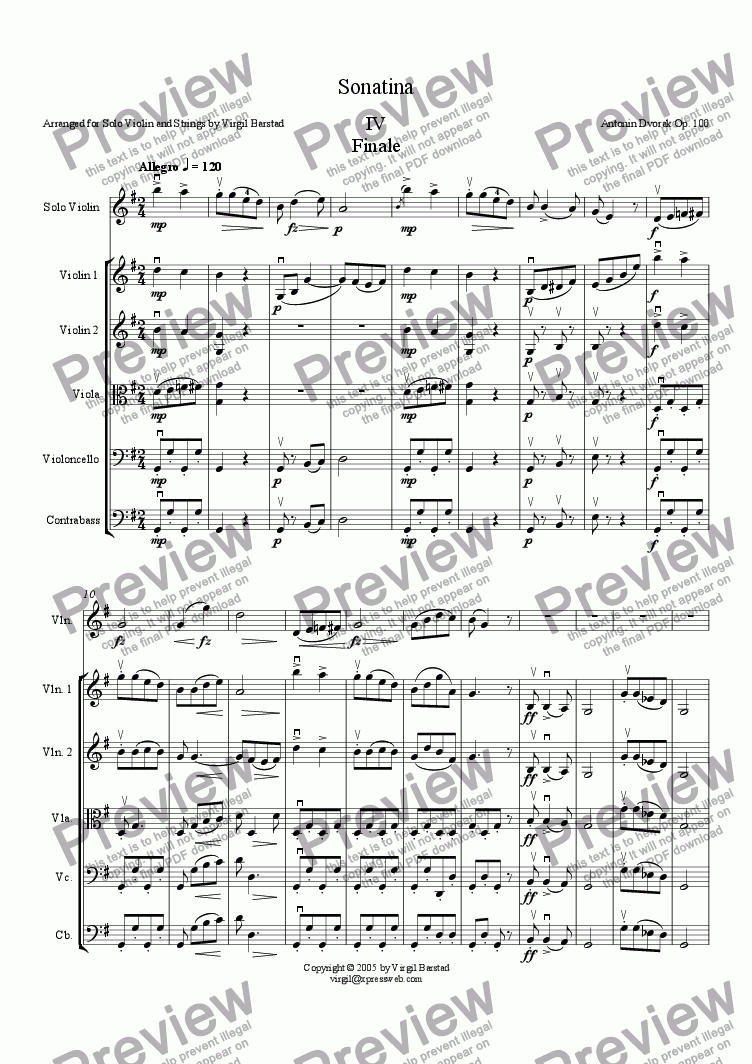 page one of Sonatina - IV