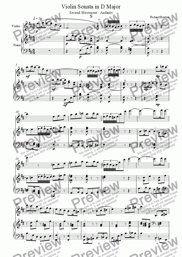 page one of Violin Sonata in D Major, Second Movement