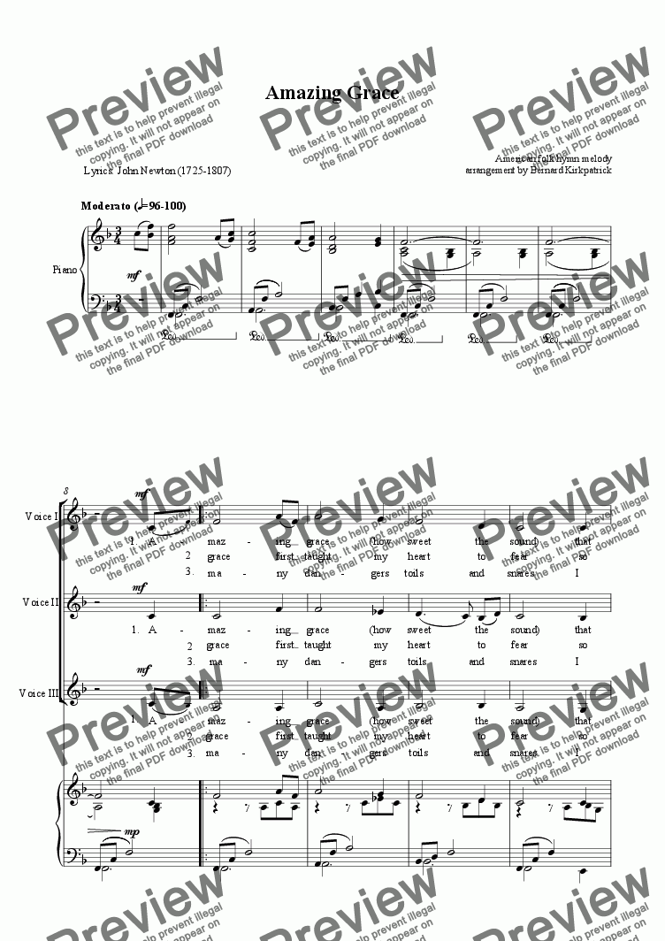 "page one of ""Amazing Grace"" Download Sheet Music (3 part  vocal/keyboard arr.)"