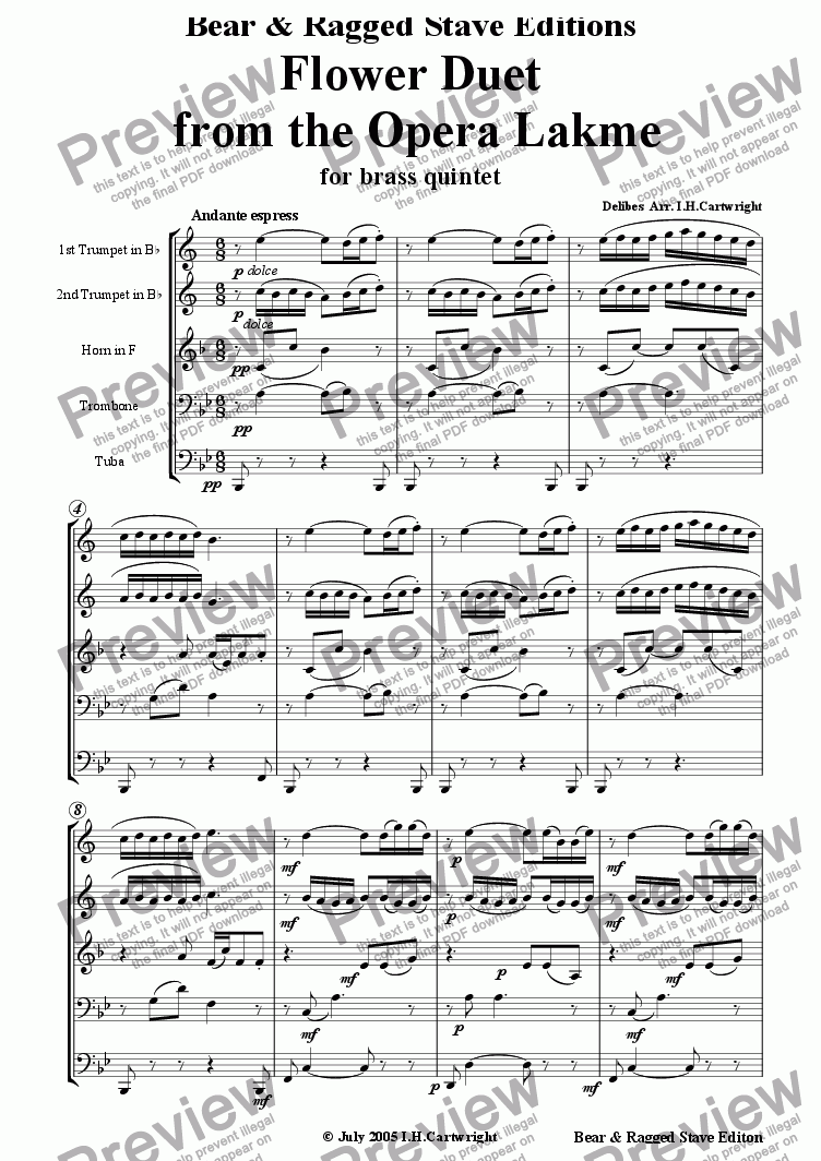 page one of Flower Duet from the opera Lakme  for brass quintet