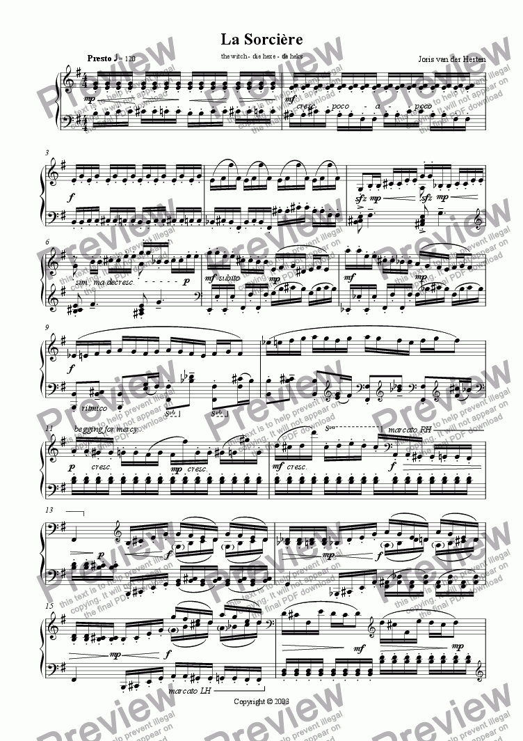 page one of The Witch (juvenilia, piano)