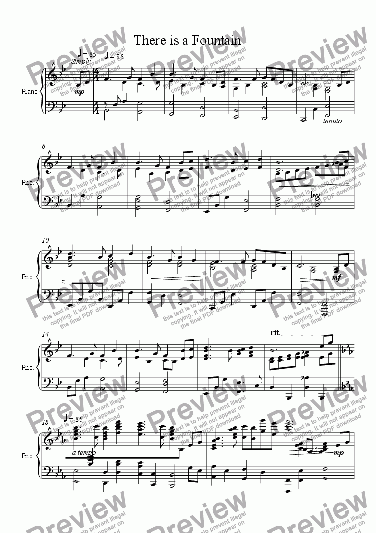 page one of There is a Fountain - piano  soloASALTTEXT