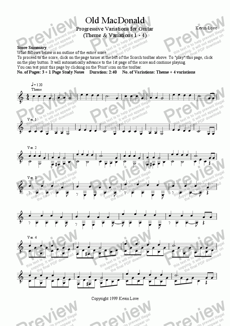page one of Old MacDonald - Progressive Variations for Guitar (Theme and Variations 1 - 4)