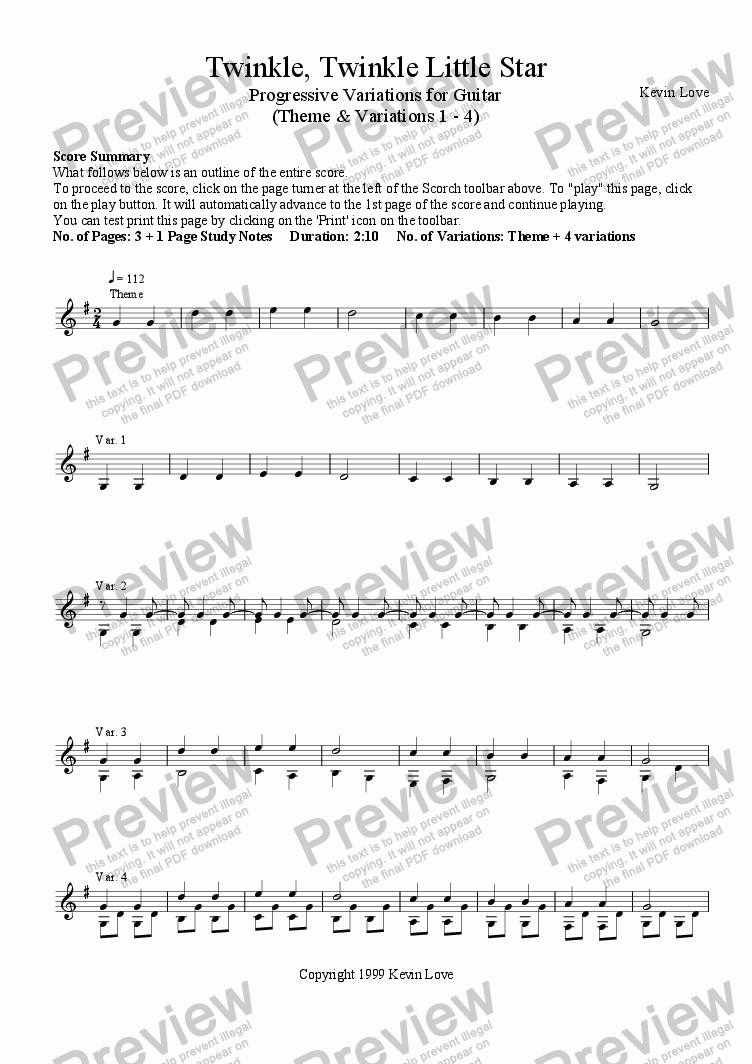 page one of Twinkle, Twinkle Little Star - Progressive Variations for Guitar (Theme and Variations 1 - 4)