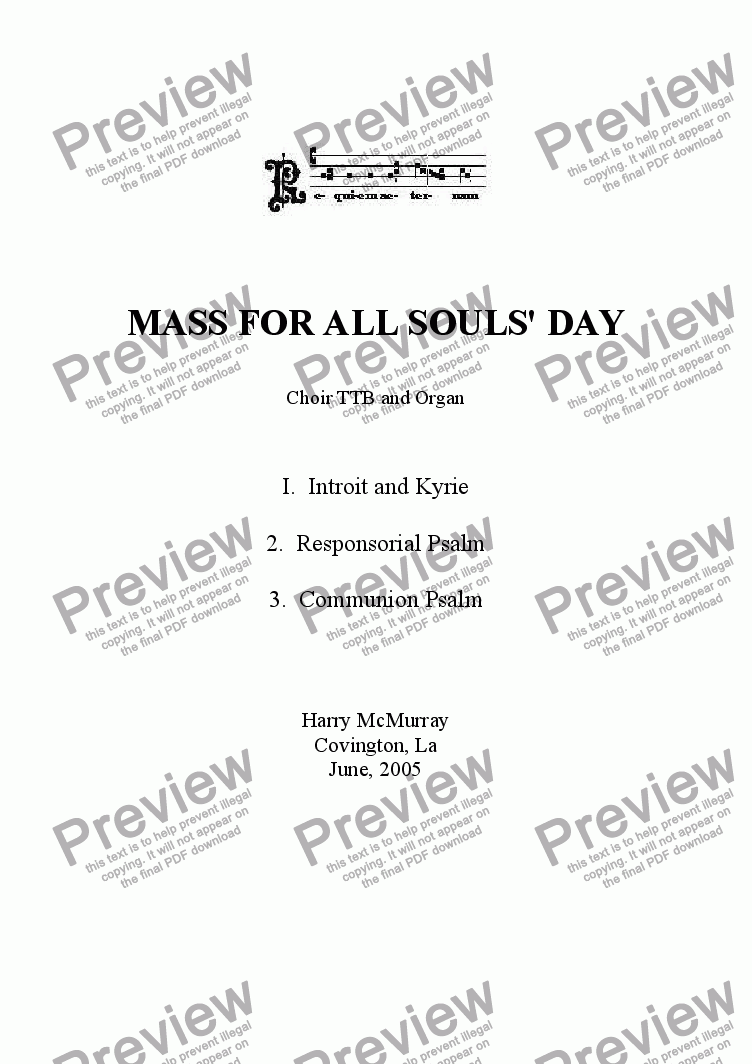 page one of Mass for All Souls' Day TTB