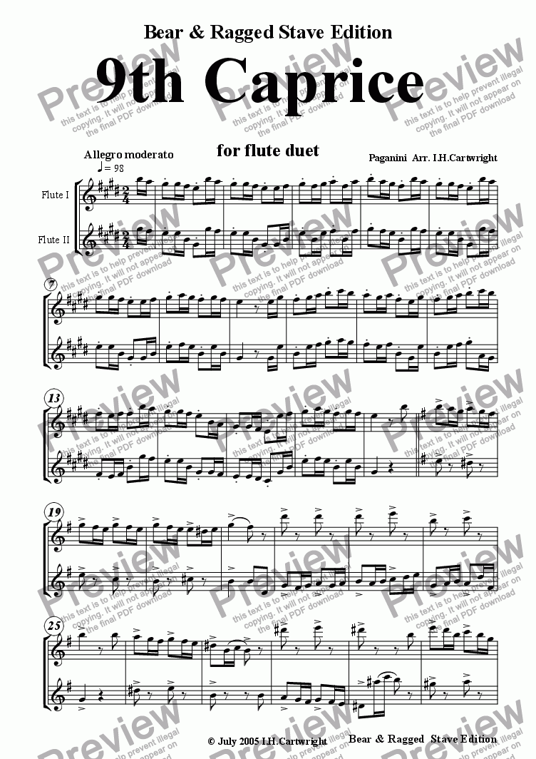 page one of 9th Caprice for flute duet