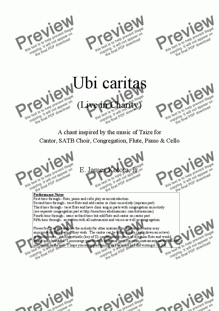 page one of Ubi caritas (Live in Charity)ASALTTEXT