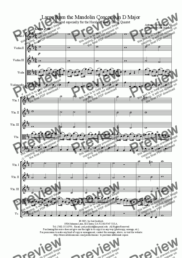 page one of Largo from the Mandolin Concerto in D Major, R.V. 93 (String Quintet - 3 Violins, Viola, Cello)